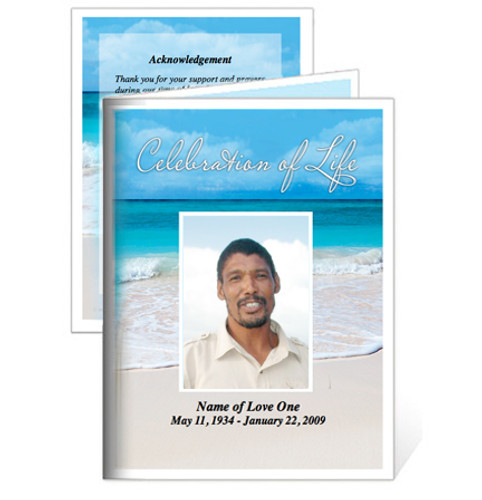 Carribean Folded Funeral Card Template