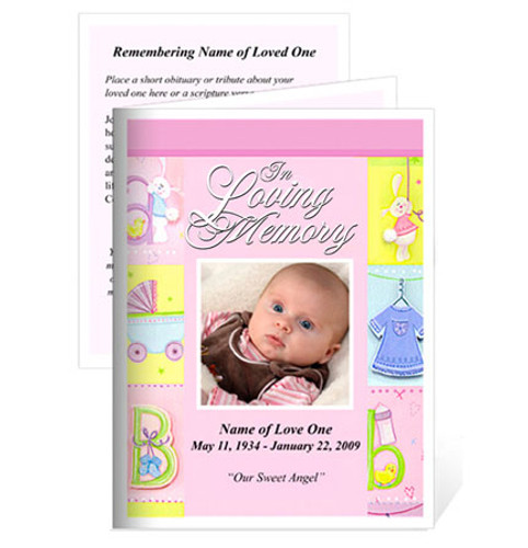 Darling Folded Funeral Card Template pink