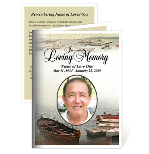 Fishing Folded Funeral Card Template