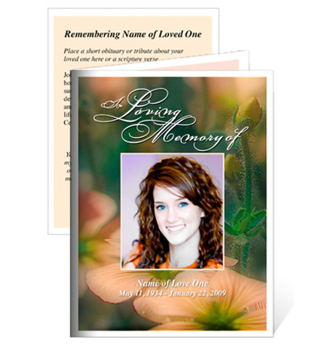 Floral Folded Funeral Card Template