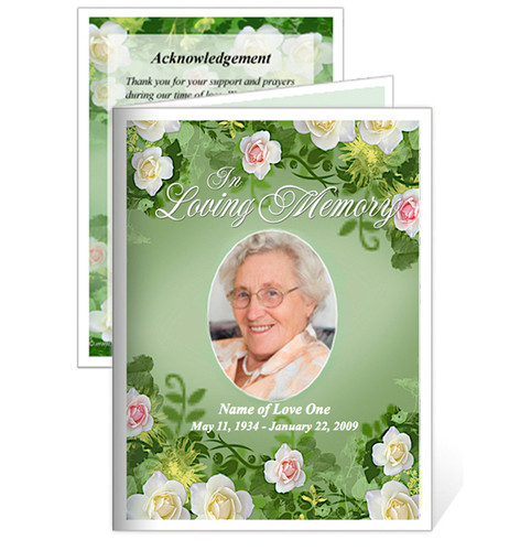 Garden Folded Funeral Card Template