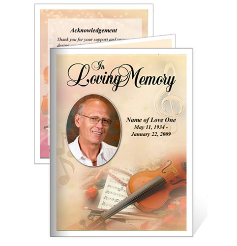 Harmony Folded Funeral Card Template