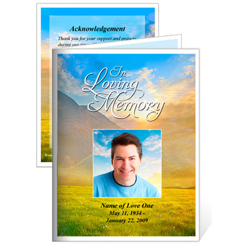 Horizon Folded Funeral Card Template