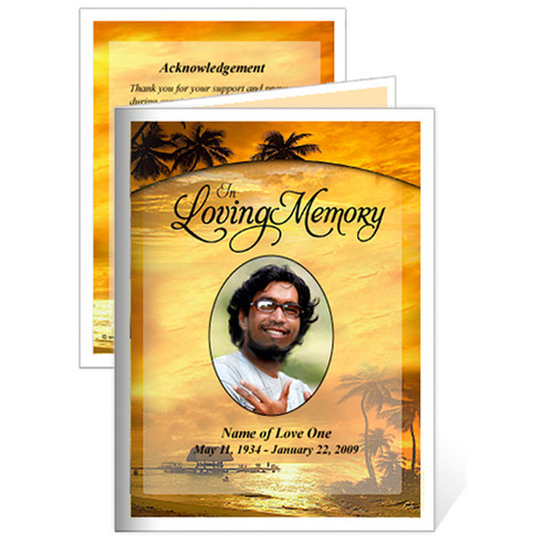 Island Folded Funeral Card Template