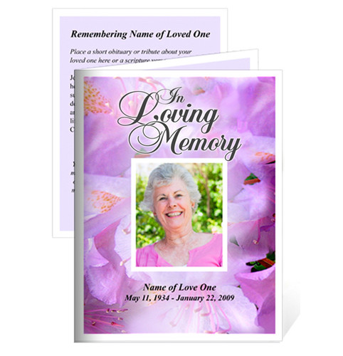 Lavender Small Folded Memorial Funeral Card Template