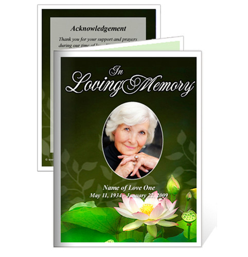 Lotus Small Folded Funeral Card Template