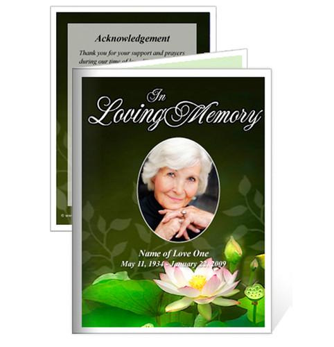 Lotus Small Folded Memorial Funeral Card Template