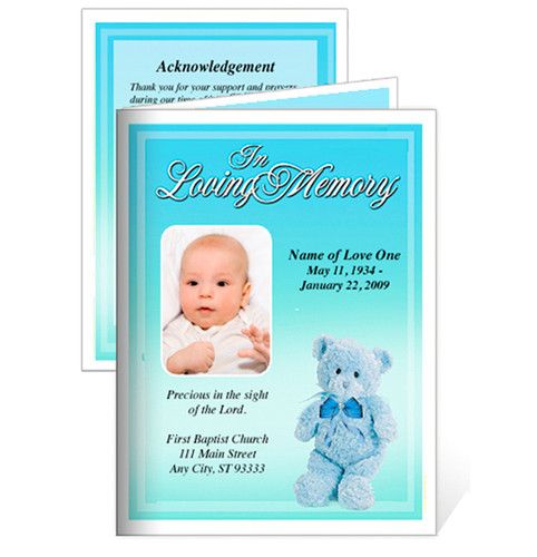 Nursery Small Folded Memorial Funeral Card Template