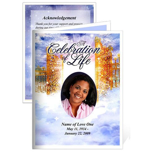 Pathway Small Folded Memorial Funeral Card Template