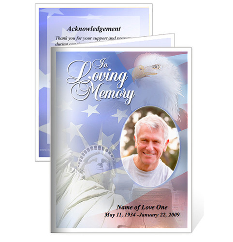 Patriot Small Folded Memorial Funeral Card Template