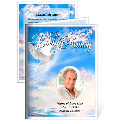 Peace Small Folded Memorial Funeral Card Template
