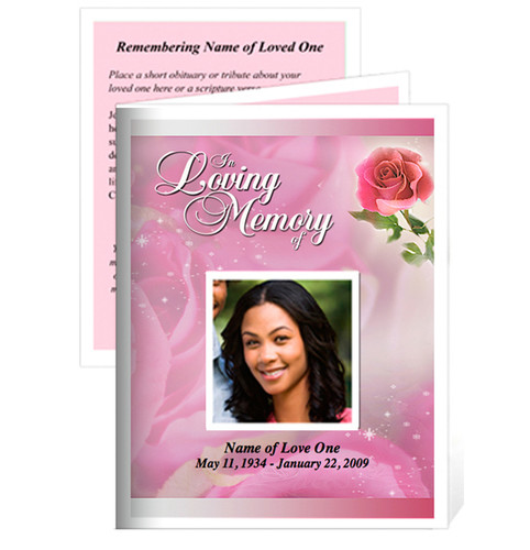 Petals Small Folded Funeral Card Template