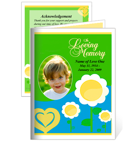 Playful Small Folded Funeral Card Template