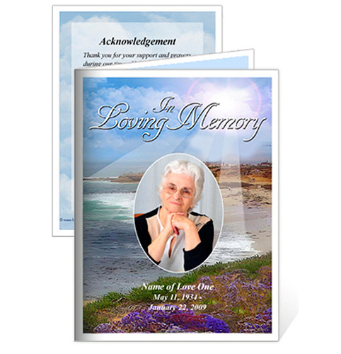 Seascape Small Folded Memorial Funeral Card Template