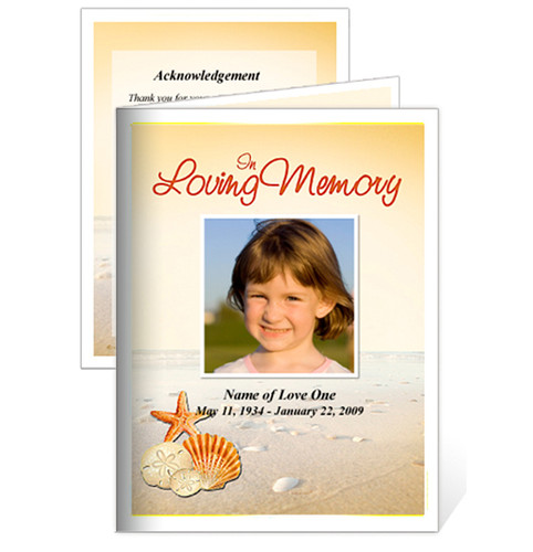 Seashore Small Folded Funeral Card Template