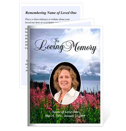 Season Small Folded Funeral Card Template