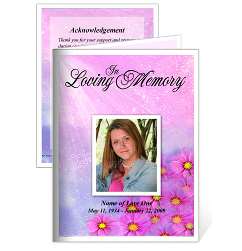 Sparkle Small Folded Funeral Card Template