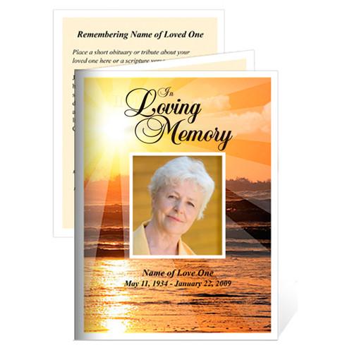Sunrise Small Folded Funeral Card Template