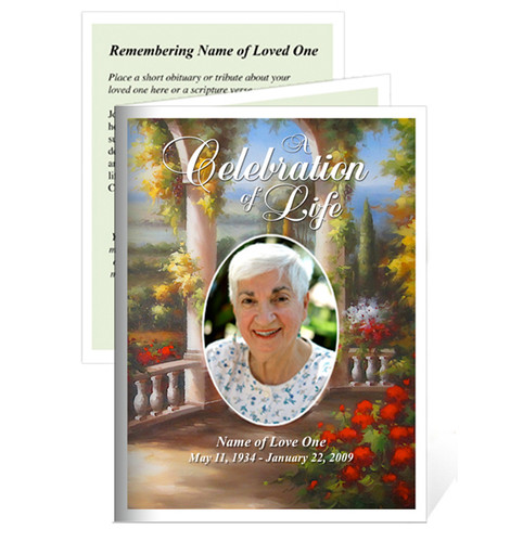 Tuscany Small Folded Funeral Card Template