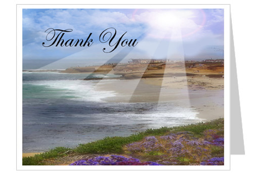 Seascape Thank You Card Template