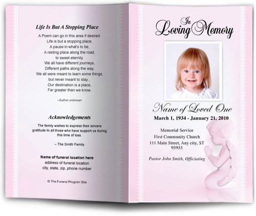 angela pink Funeral Program Template