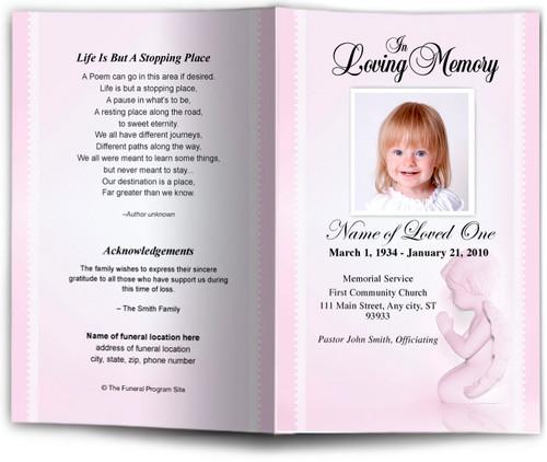 angela pink Funeral Program Template