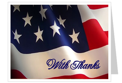 US Flag Funeral Thank You Card Template