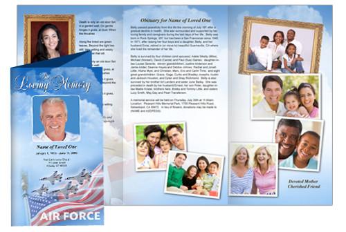 air force diy legal funeral tri fold brochure template