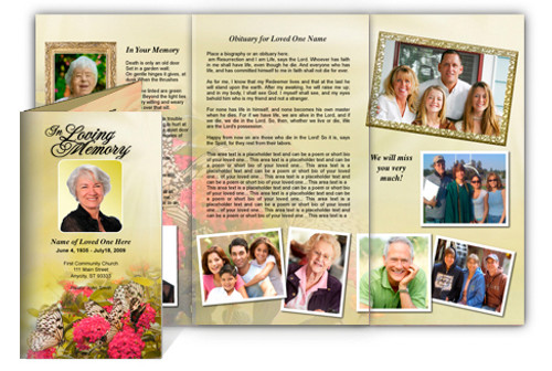 Bouquet DIY Legal Funeral Tri Fold Brochure Template