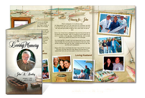 Fishing Legal Funeral Tri Fold Brochure Template