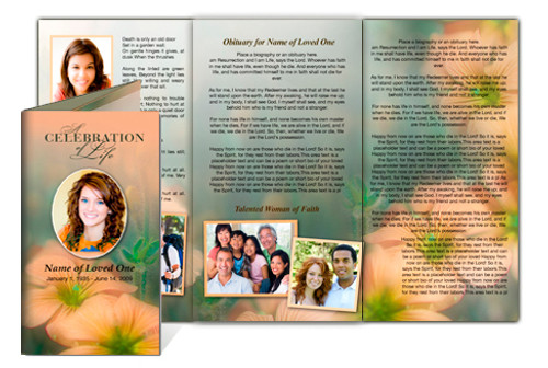 Floral Legal Funeral Tri Fold Brochure Template