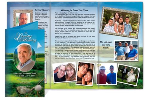 Golfer DIY Funeral Tri Fold Brochure Template