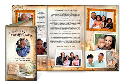 History DIY Funeral Tri Fold Brochure Template
