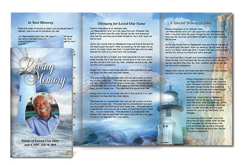 Lighthouse DIY Funeral Tri Fold Brochure Template