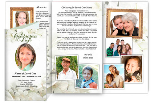 Lily DIY Funeral Tri Fold Brochure Template