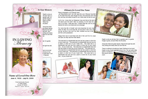 Lovely DIY Funeral Tri Fold Brochure Template