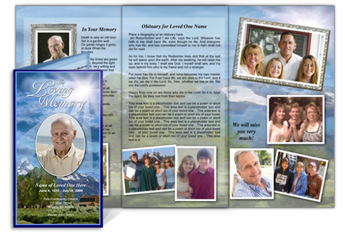 Outdoor DIY Funeral Tri Fold Brochure Template