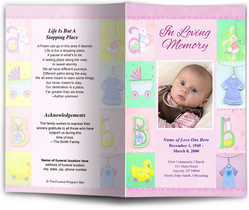 Darling pink Funeral Program Template