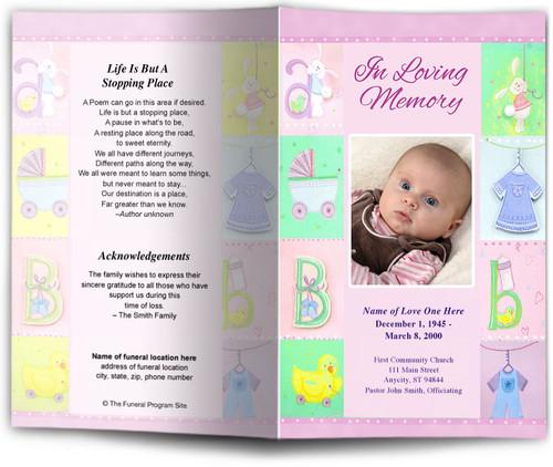 Darling pink Funeral Program Template