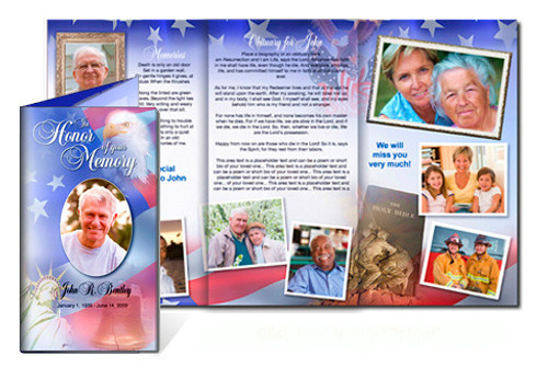 Patriot DIY Legal Funeral Tri Fold Brochure Template