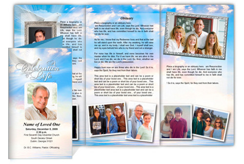 Peace DIY Legal Funeral Tri Fold Brochure Template