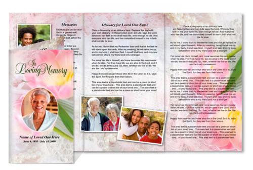 Pearls DIY Legal Funeral Tri Fold Brochure Template