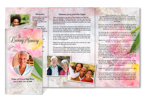 Pearls DIY Legal Funeral Tri Fold Brochure Template
