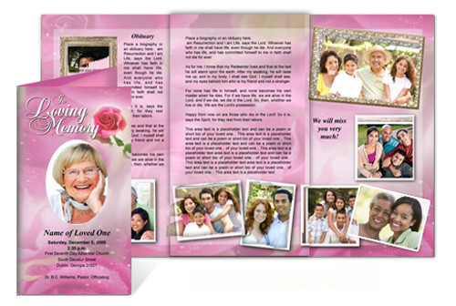 Petals DIY Legal Funeral Tri Fold Brochure Template