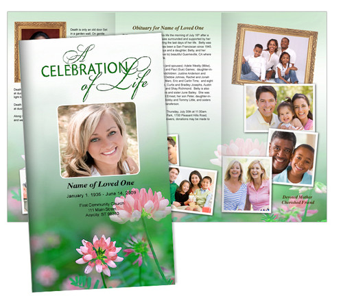 Ambrosia Large Tabloid Trifold Funeral Brochures Template