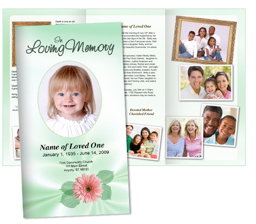Blossom Large Tabloid Trifold Funeral Brochures Template