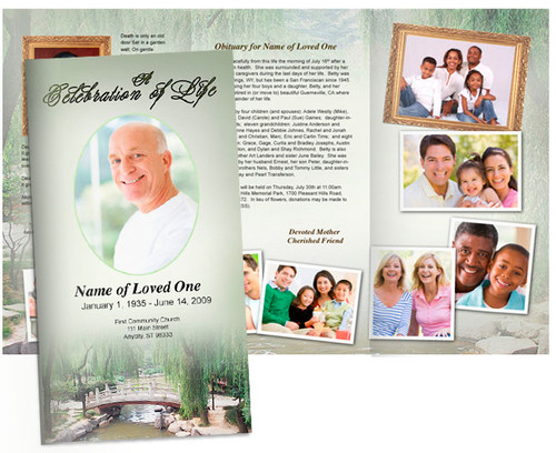 Bridge Large Tabloid Trifold Funeral Brochures Template