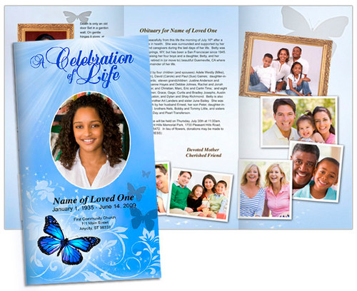 Butterfly Large Tabloid Trifold Funeral Brochures Template