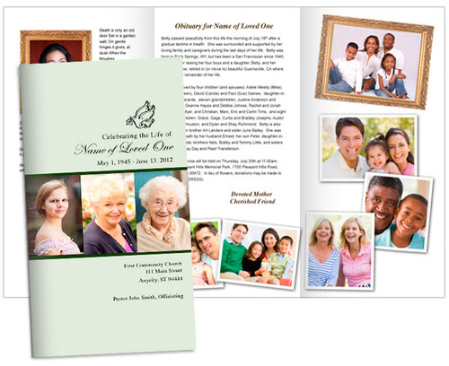 Contemporary Large Trifold Funeral Brochures Template