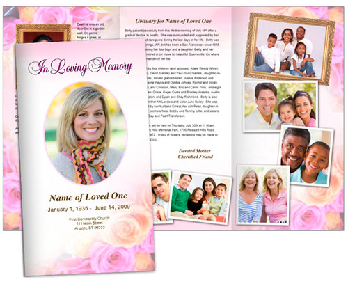 Coral Large Tabloid Trifold Funeral Brochures Template